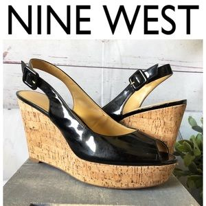"Nine west ""Charlotta"" black patent cork wedge"